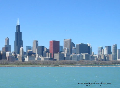 view from the Adler Planetarium